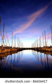 Sail boat marina night
