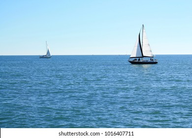 Sail boat in mediterranean sea, France