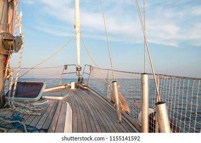 Sail boat in open sea. Luxury summer adventure