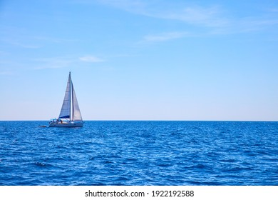 Sail boat in the sea. Seascape with yacht