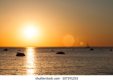 Sail boat sunset silhouette