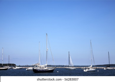 Sail boats mooring in the port at Sag Harbor, Long Island, New York