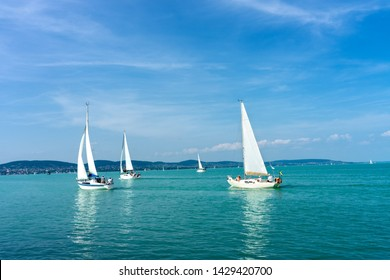 Sail Boats on the blue Lake Balaton Hungary
