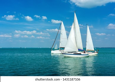 Sail Boats on the blue Lake Balaton Hungary