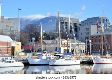 Sail Boats and Reflection in Hobart Harbour on Clear Winter Day
