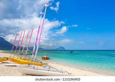 Sail boats at the Wolmar beach. Beautiful landscape. Mauritius island.