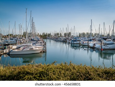 sail boats and yachts anchored in Point Roberts marina Washington state, USA