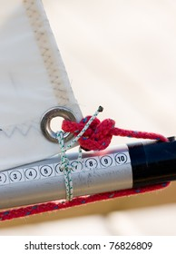 Sail detail on Dinghy sailing boat