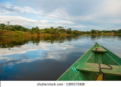 Sail on a wooden boat on the Amazon river in the jungle. Amazon River Manaus, Amazonas, Brazil.