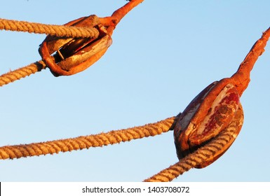 Sail pulleys and rope, sailing in Egypt.
