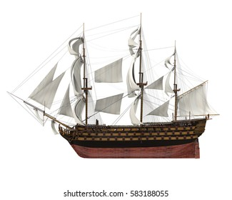 Sail Ship Isolated. 3D rendering