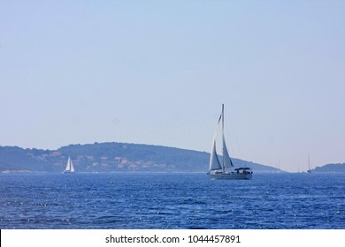 Sail ship on Adriatic sea between Croatian Islands