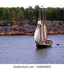 Sail ship on Baltic Sea, Helsinki. Finland. Photo in vintage image style