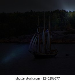 Sail ship on Baltic Sea, Helsinki. Finland. Night shot. Photo in vintage image style