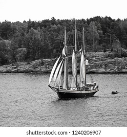 Sail ship on Baltic Sea, Helsinki. Finland. Vintage style black and white image