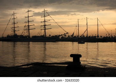 Sail ship on the port