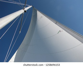 Sail in the wind. Mast and rigging.