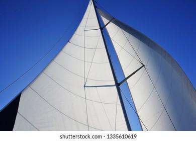 sail yacht against the blue sky