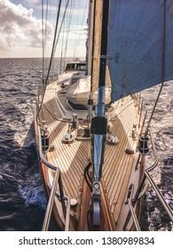 Sail Yacht Underway in Bahamas