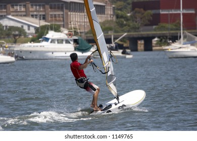 Sailboarder on the water