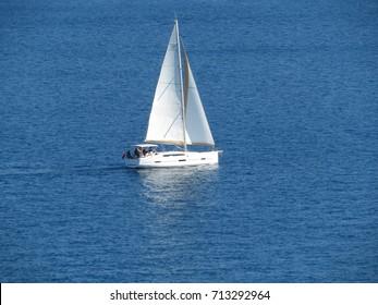 Sailboat in the Aegean sea