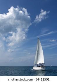 Sailboat against a beautiful skyscape on Lake Huron.