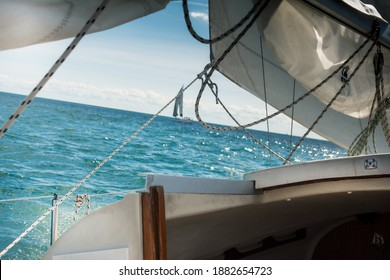 Sailboat against the Horizon floating to adventure