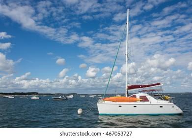 Sailboat anchored in a bay