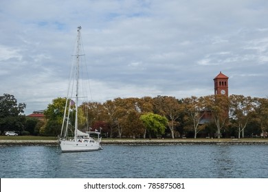 A sailboat anchored beside Hampton University in Hampton, Virginia.