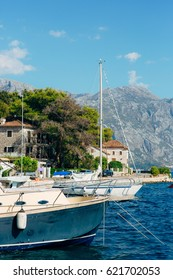 Sailboat in the ancient town of Perast in Bay of Kotor, Montenegro