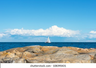 Sailboat in archipelago