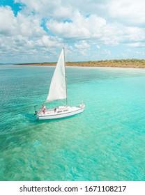 Sailboat in Bacalar Lagoon, near Cancun in Riviera Maya, Mexico