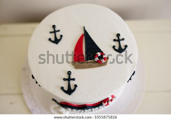 Enjoyable Sailboat Birthday Cake Stock Photo Edit Now 1055875826 Funny Birthday Cards Online Sheoxdamsfinfo