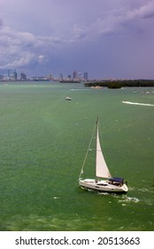 Sailboat in Biscayne Bay Near Port of Miami