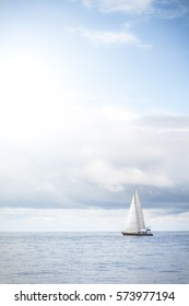 Sailboat in the blue sea.