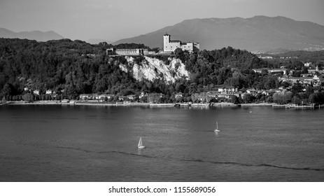 Sailboat and Castle on Lake Maggiore