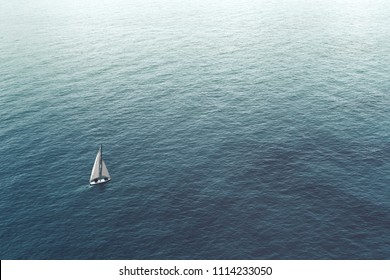 sailboat challenge the sea, aerial view