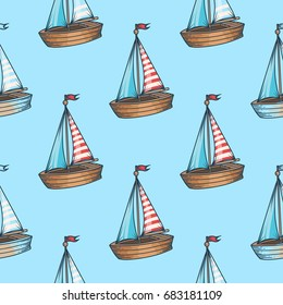 sailboat cruise marine transportation romantic seamless pattern. For child, toy, textile. Ship on blue