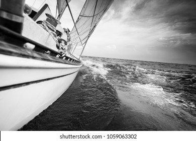 Sailboat cruising on sea, Toronto, Canada