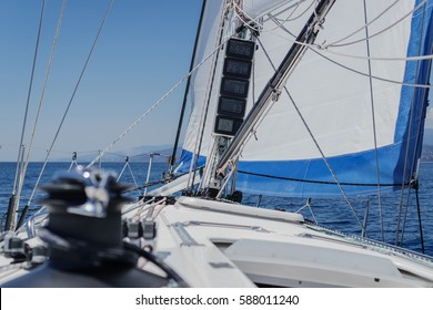 Sailboat deck view in Mediterranean sea near Italy