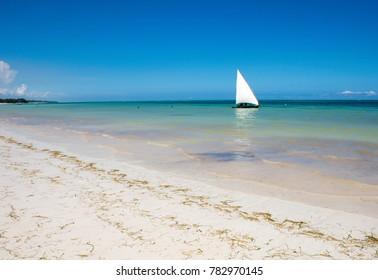 Sailboat at the diani beach in Kenya. Beautiful view on ocean.