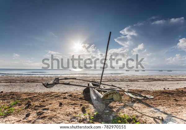 Sailboat at the diani beach in Kenya. Beautiful view on ocean.