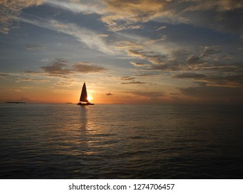 A sailboat during sunset in Key West, Florida