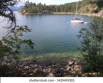 A sailboat at Ellison Provincial Park in Vernon, Okanagan Valley, British Columbia, Canada.