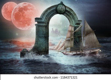 Sailboat with fully rigged sails passes through the portal to another world. There two red moons and a city seen in mist. Before the entryway the sea is rough behind there seen only ocean swell.