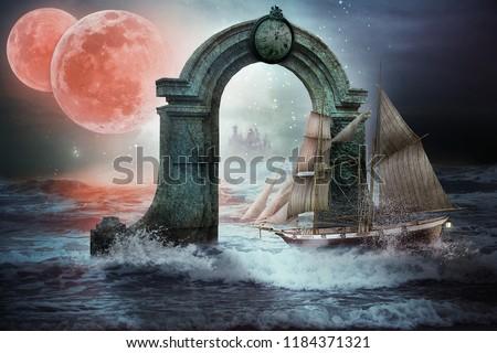 Sailboat Fully Rigged Sails Passes Through Stock Photo (Edit