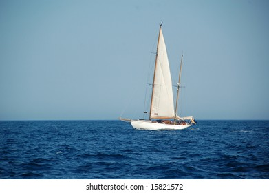 Sailboat in Gulf of Saint-Tropez