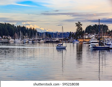 Sailboat headed back to dock in Gig Harbor