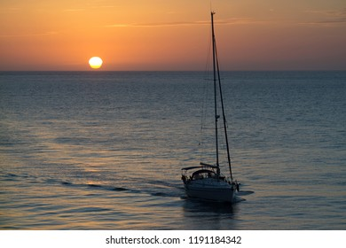 Sailboat Heading Home at Sunset Cadiz Spain