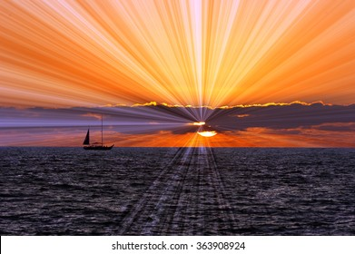 Sailboat journey is a silhouetted boat sailing on the sea with sun rays breaking through the clouds against a surreal sky.